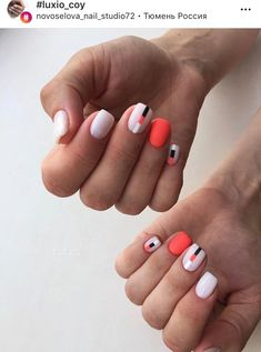 Stylish Nails, Trendy Nails, Short Nail Manicure, Nail Mania, Red Nail Designs, Geometric Nail, Pretty Nail Art, Get Nails, Powder Nails