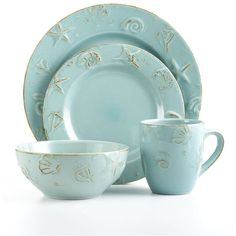 """This aqua color is stunning in this nautical, 16 piece set called, """"Cape Cod"""" by Thomson Pottery. It is dishwasher & microwave safe ... I received one set with a broken bowl. Bealls sent me a second set and told me to keep the first set! Such-a deal, huh?"""