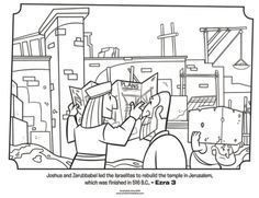 Kids coloring page from What's in the Bible? featuring Jeshua and Zerubbabel rebuilding the temple in Jerusalem from Ezra 3. Volume 7: Exile and Return!