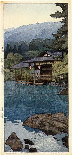Garden in Summer by Hiroshi Yoshida, 1933 - Japanese painter and woodcut print maker Hiroshi Yoshida, Japon Illustration, Japanese Woodcut, Art Asiatique, Art Japonais, Landscape Prints, Japanese Painting, Japanese Prints, Animation