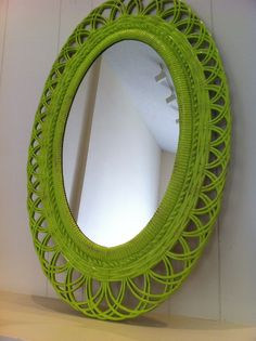 Mirror Chippy Distressed Lime Vintage