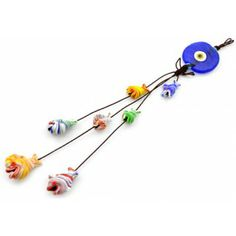 Handmade Glass Evil Eye Fish Amulet . Gives protection and b