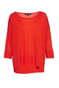 "<ul> <li> Lightweight fine lyocell, cotton and silk-blend knitted jumper</li> <li> Wide neck</li> <li> 3/4 length sleeves with drop shoulders</li> <li> Small side-hem splits</li> <li> Seaming detail at back for added volume</li> <li> UK size M length from high shoulder neck point is 62cm</li> </ul>  <strong>Our model is 5ft 10"" and is wearing a UK size M. <..."