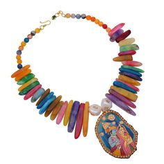 Multicolor radha krishan tanjore art fashion onyx necklace