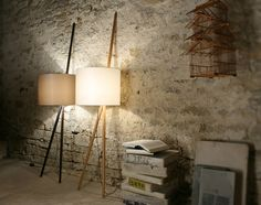 Unconventional Tripod Lamps by maigrau. Classy and modern industrial at the same time. The Luca leaning lamp is a masterpiece of desing made of Oiled Oak Wood, Mixed Cotton Blend, PVC Foil. Accent Lighting, Lighting Design, Blitz Design, Tripod Lamp, Modern Industrial, Architecture, Lamp Light, Home Accessories, Cool Designs