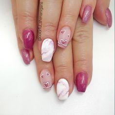 25 Marble Nail Design with Water & Nail Polish 2 Marble Nail Designs, Marble Nail Art, Nail Art Designs, Nails Design, Water Nails, Valentine Nails, Valentines, Heart Nails, Hand Painting Art