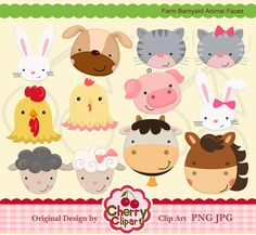 Farm Barnyard Animal Faces digital clipart set for-Personal and Commercial Use-Card Design, Scrapbooking, and Web Design