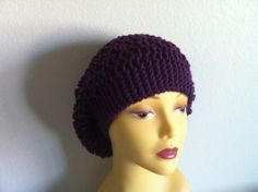 Purple Slouchy Hat Knitting Purple Hat Knitting by zahraknitting, $25.90