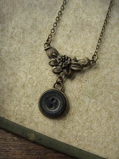 Flowers in the Mausoleum - Vintage Button Necklace