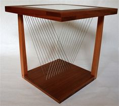 "Balance End Table 22"" x 22"" x 22"" Cherry, Sapele, Steel Cable"