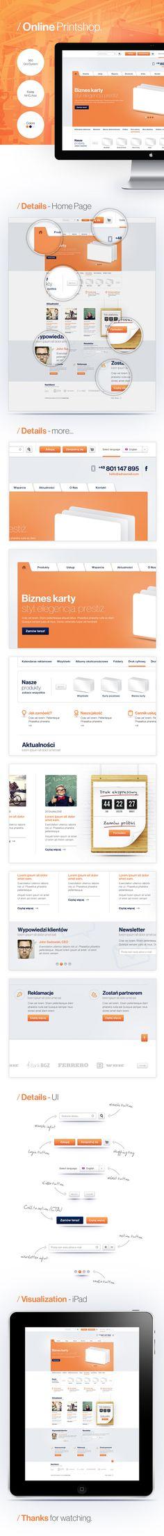 Printshop by Adam Rudzki Mobile Ui Design, App Ui Design, User Interface Design, Design Web, Web Layout, Layout Site, Ui Design Inspiration, Professional Logo Design, Application Design