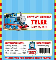 THOMAS THE TANK ENGINE / TRAIN CANDY WRAPPERS / BIRTHDAY PARTY FAVORS