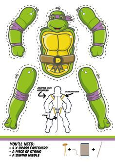Teenage Mutant Ninja Turtles - Jumping Jacks - M. Ninja Turtle Party, Ninja Turtle Birthday, Paper Puppets, Paper Toys, Turtle Birthday Parties, Superhero Party, Teenage Mutant Ninja Turtles, Jumping Jacks, Kids Crafts