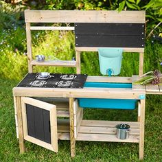 Buy TP Toys Muddy Madness Mud Kitchen from our Garden Toys & Games range at John Lewis & Partners. Outdoor Play Kitchen, Diy Mud Kitchen, Mud Kitchen For Kids, Kitchen Logo, Outdoor Toys, Wooden Kitchen, Outdoor Decor, Chuck Box Plans, Stencil Diy