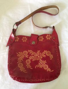 838877b5f9f5 Vintage red hand tooled leather bag