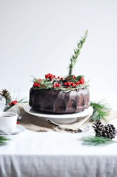 Chocolate bundt cake with orange and rosemary