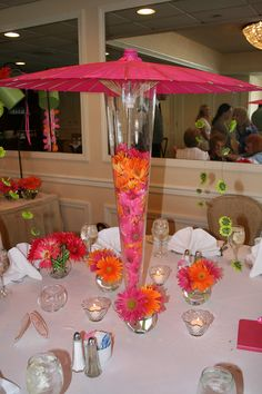Pink and Orange Parasol Bridal Shower-This was a bridal shower but these ideas would be also be great for a garden party, a spring celebrations or a baby shower.