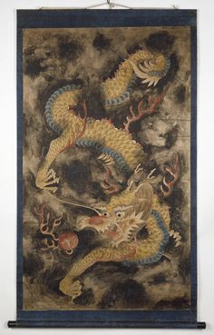 Dragon and Clouds (Painting) | V&A Search the Collections Japanese Tiger, Tiger Dragon, Dragon Images, Magical Creatures, 19th Century, Dragons, Korean, Train Your Dragon, Korean Language
