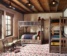 7 Rustic Bunk Rooms We Love - Mountain Living Kids Bedroom Designs, Kids Room Design, Bedroom Kids, Rustic Kids Rooms, Rustic Bedrooms, Rustic Bunk Beds, Home Office, Bunk Bed Rooms, Room Inspiration