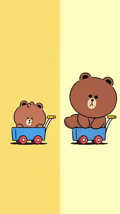 Friends Wallpaper, Bear Wallpaper, Kawaii Wallpaper, Cony Brown, Brown Bear, Simple Character, Bunny And Bear, Brown Line, Line Friends