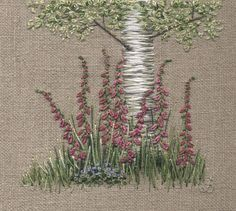Jo Butcher, Embroidery Artist - Silver Birch & Foxgloves