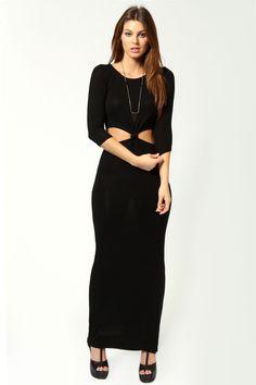 Daisy Knot Front 3/4 Sleeve Maxi Dress