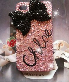 Custom Bling Swarovski Crystals Initials or Name Ribbon iPhone 4 / samung / blackberry Cell Phone Case