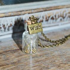 Wishes: Real Dandelion Seed Mini bottle by ThumbelinasWish on Etsy Bottle Necklace, Dog Tag Necklace, Resin Jewelry, Jewelry Findings, Mini Bottles, Organza Gift Bags, Wish, Dandelion Seeds, Bronze