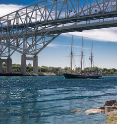 Tall ship under the Blue Water Bridge, Port Huron, Michigan.....St. Clair River sailing out onto Lake Huron