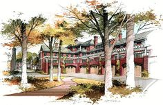 Watercolor Architectural Renderings - Hand Drawn Architectural Renderings
