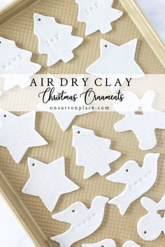 Diy Air Dry Clay Christmas Ornaments Step By Step Directions.- Diy Air Dry Clay Christmas Ornaments Step By Step Directions Clay Christmas Decorations, Christmas Clay, Diy Christmas Ornaments, Diy Christmas Gifts, Christmas Projects, Holiday Crafts, Christmas Tree, Christmas Ideas, Preschool Christmas