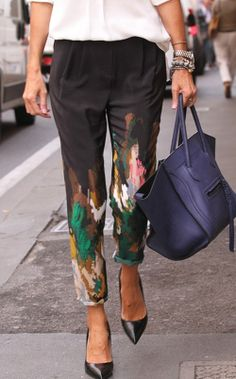 Abstract painted pants; could so add that to some pants!