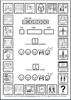 Agenda con pictogramas de ARASAAC sobre actividades diarias realizadas en el colegio.