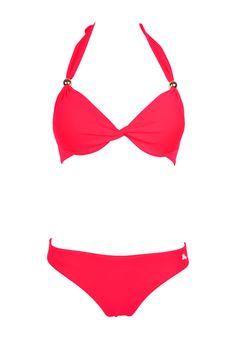 Maillot de bain 2 pièces push-up tanga rouge fluo