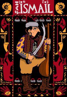 ŞAH İSMAİL HATAYÎ (ö. 1524)  I. İsmail veya Şah İsmail (17 Temmuz 1487; Erdebil, Akkoyunlular - 24 Mayıs 1524 Erdebil, Safevî Devleti, İran), Safevî Tarikatı'nın lideri ve Safevi Devleti'nin kurucusu, aşık edebiyatının kurucularından Hatayi mahlaslı alevi önderi. Persian Warrior, Iran, Comic Books, Sultan, Comics, Poster, Cartoons, Cartoons, Comic
