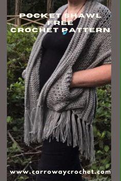 Crochet Wrap Pattern, Crochet Shawls And Wraps, Crochet Scarves, Crochet Patterns, All Free Crochet, Easy Crochet, Pocket Pattern, Free Pattern, Shorts Crochet