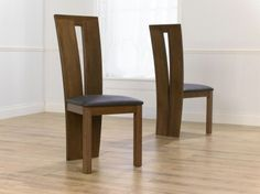 Mark Harris Arizon Solid Dark Oak Dining Chair - Brown Bycast Leather Seat (Pair)