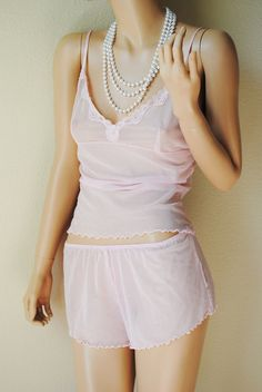 Vintage Light Pink Polka Dotted Sheer Cami and by LingerieAddicts, $25.00
