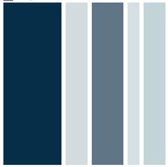 Camaieu de bleus, qui vont avec du gris, du brun