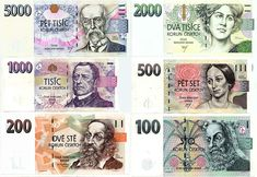 Valid banknotes of Czech koruna (Kč) in Czech Money, International Flags, Money Worksheets, World Thinking Day, Life Design, Czech Republic, Typography Design, Most Beautiful, Finance