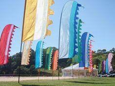 Multi-coloured avenue of flags