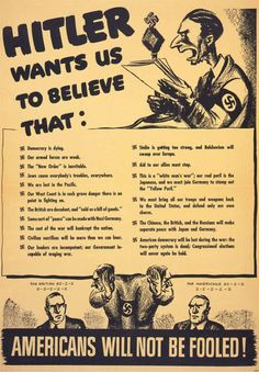 """American poster, 1942: """"Hitler Wants Us To Believe..."""""""