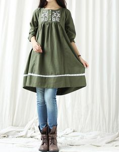 Autumn linen doll Knee length long sleeve dress by MaLieb on Etsy, $80.00