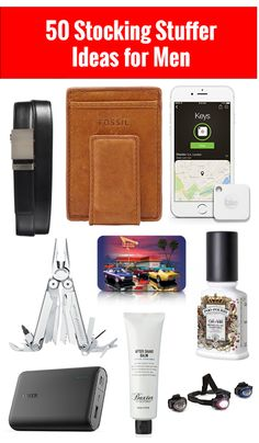 Why are holiday gift ideas so hard when it comes to guys? This post shares 50 Stocking Stuffer Ideas for Men and have a lot of holiday gifts that are universal that he will love!
