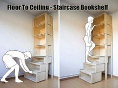 Innovative Bookshelf idea | Movable Staircase bookshelf | Wooden Ladder type Bookshelf | Amazing idea to take book from an upper book shelf | Innovative thoughts make everything simple