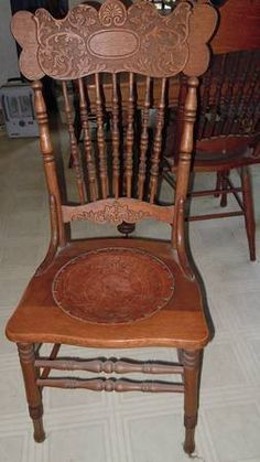Antique Thresher's Table w/6 pressed back chairs