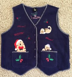 #Ugly #Christmas #Sweater Fleece Vest #CAT CAT'S MEOW MIAO Applique Embroidered L-XL