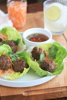 Vietnamese Pork Meatballs in Lettuce Cups
