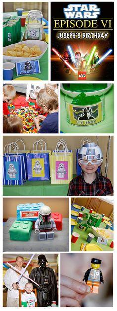 Star Wars Lego birthday party Lego Birthday Party, Star Wars Birthday, Star Wars Party, 6th Birthday Parties, Lego Parties, Birthday Ideas, Simple First Birthday, Lego Themed Party, Party Fun