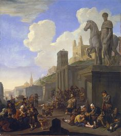 "Johannes Lingelbach, ""A Street Scene with a Capriccio of Roman Buildings,"" about 1651. Worcester Art Museum. #WorcesterArt"